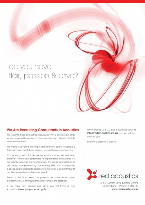 Red Acoustics   We Are Recruiting Info@redacoustics.co.uk